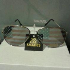 1e4ae78eab Sunglasses Aviator sunglasses wire frame silver black ear tips lenses have  American flag on them really