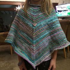 Ravelry: Basic Childrens Poncho pattern by Shaina Bilow Crochet Baby Poncho, Crochet Girls, Knitted Poncho, Children's Poncho, Knit Crochet, Hooded Poncho Pattern, Poncho Knitting Patterns, Sweater Patterns, Knitting For Kids