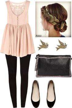 Light pink short gown, swallow eartops, black pants, black hand bag and shoes.. Click on the pic for more
