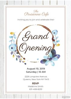 Free Cafe Opening Ceremony Invitation Template – Famous Last Words Shop Opening Invitation Card, Grand Opening Invitations, Invitation Card Format, Free Invitation Templates, Free Printable Birthday Invitations, Invitation Card Design, Personalized Invitations, Invitation Wording, Party Invitations