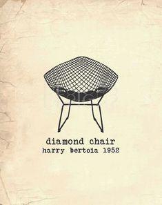 Wall Art  Diamond Chair  Harry Bertoia  by SusanNewberryDesigns, $20.00