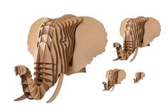 Eyan Jr. Medium Elephant Trophy Brown or White by CardboardSafari, $30.00