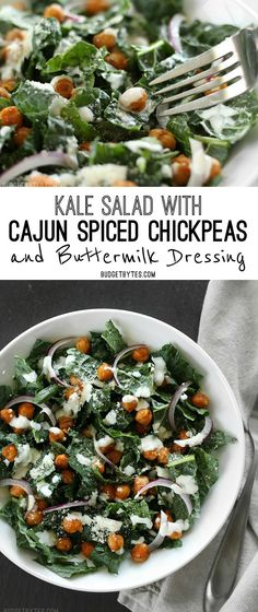 Kale Salad with Cajun Spiced Chickpeas and Buttermilk Dressing. @budgetbytes