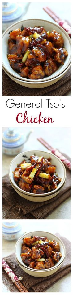 General Tso's chicken is a popular Chinese takeout. Easy General Tso's chicken recipe with step-by-step to help home cooks make General Tso's chicken | rasamalaysia.com: