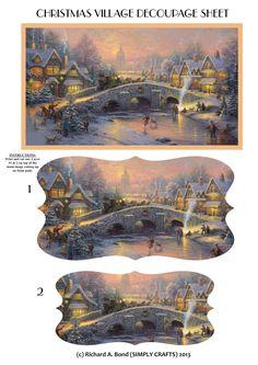 CHRISTMAS VILLAGE PYRAMID DECOUPAGE SHEET ( 2 shape versions available - rectangle & fancy label shape)