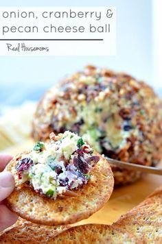 Onion Cranberry & Pecan Cheese Ball is a delicious make ahead appetizer that is perfect for your Christmas party! Make Ahead Appetizers, Thanksgiving Appetizers, Holiday Appetizers, Finger Food Appetizers, Yummy Appetizers, Appetizer Recipes, Holiday Recipes, Appetizer Ideas, Party Recipes