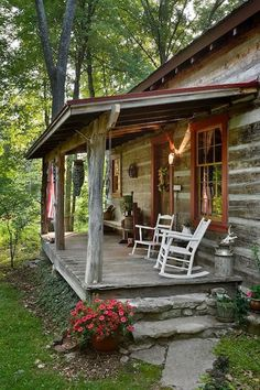 and Shine Photos) I just love the look of this cabin with the barn red windows and doors and the porch with the rocking chairs!I just love the look of this cabin with the barn red windows and doors and the porch with the rocking chairs!