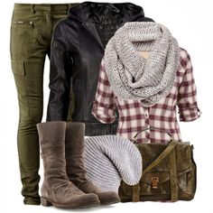 Olive jeans, plaid shirt, leather jacket, grey beanie/cream infinity scarf and combat boots