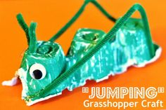 """""""Jumping"""" grasshopper craft.  This would be a cute kids craft for the Passover plague of locusts"""