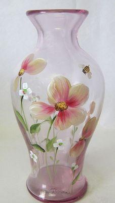 FENTON Art Glass Pink Flower  BUMBLEBEE VASE Handpainted Signed KIM BARLEY