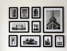 Office Photo Collage Wall 45 Black Frames with Black and White Photos Frame Wall Collage, Photo Wall Collage, Picture Wall, Frames On Wall, Collage Picture Frames, Photo Wall Decor, Family Wall Decor, Gallery Wall Layout, Gallery Wall Frames