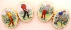 Golf Cufflinks, hand painted enamel on gold Bespoke Jewellery, Ds, Decorative Plates, Cufflinks, Enamel, Golf, Hand Painted, Jewels, Design