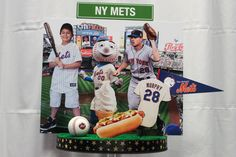 NY Mets Themed Diorama Centerpiece with Photo Cutouts for NYC Themed Bar Mitzvah