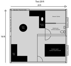 One Bedroom, One Bath Shipping Container Home Floor Plan - for the apartment out back.