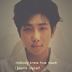 bts quotes I literally blame myself at everything i did Bts Lyrics Quotes, Bts Qoutes, Mixtape, Mood Quotes, Life Quotes, Bts Texts, Relationship Memes, Heartfelt Quotes, Quote Aesthetic