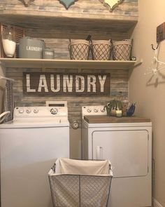 Small laundry room ideas - farmhouse laundry nook / laundry closet with apllet wall, laundry room shelves and farmhouse laundry baskets in a small farmhouse laundry nook. Easy DIY that you can do at home - easy DIY that looks hard but is EASY. Laundry Nook, Laundry Room Remodel, Laundry Room Organization, Laundry Room Design, Basement Laundry, Laundry Organizer, Laundry Room Wall Decor, Doing Laundry, Diy Laundry Baskets