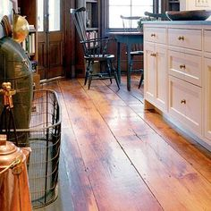 Wide plank wood floor.