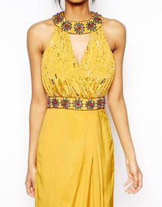 Image 3 of Virgos Lounge Lara Embellished Neck Maxi Dress