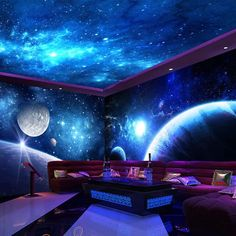 Cheap Wallpaper, Kids Room Wallpaper, Photo Wallpaper, Space Themed Wallpaper, Room Design Bedroom, Bedroom Themes, Photos Originales, Neon Room, 3d Wall Murals