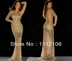 Online Shop 2014 Gergous Gold One Shoulder Mermaid Prom Dresses With Long Sleeves Crystal Sheer Formal Evening Gowns|Aliexpress Mobile