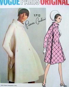 1960s MOD Pierre Cardin Coat Pattern VOGUE PARIS Original 1712 Fab Double Breasted Bias Cut Coat Standing Collar Unique Design Bust 34 Vintage Sewing Pattern