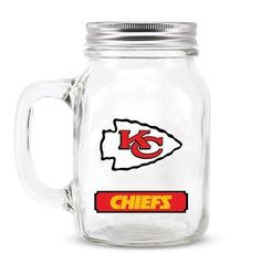 ONE KANSAS CITY CHIEFS 20oz TIN SCREW ON TOP GLASS MASON JAR FROM DUCKHOUSE #DuckhouseSports #KansasCityChiefs