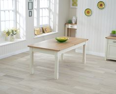 Buy the Somerset 180cm Oak and Cream Extending Dining Table at Oak Furniture Superstore