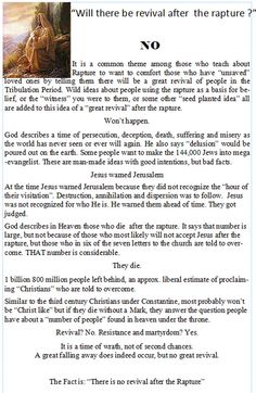 """Christian Books :: """"FACTS: the Chapbook Series"""" :: FACTS: Rapture :: Will there be a revival after the rapture?"""