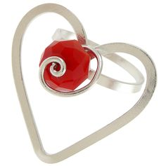 Sterling Silver Heart Ring. Handmade rhodium plated sterling silver ring with red crystal. Adjustable size.