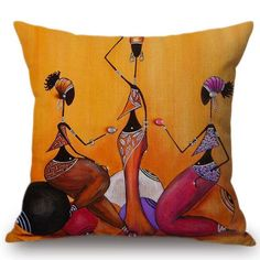 Using Art and Crafts in African Decor Diy Throw Pillows, Burlap Pillows, Throw Pillow Cases, Decorative Throw Pillows, Pillow Covers, Arrow Pillow, Fabric Paint Designs, African Paintings, African Interior