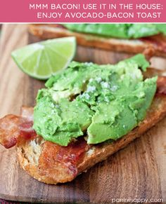 Avocado-bacon toast! You need: bread, olive oil, bacon, avocados and a lime.