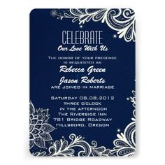 modern white lace pattern navy blue wedding invitations http://www.zazzle.com/themeweddingboutique*
