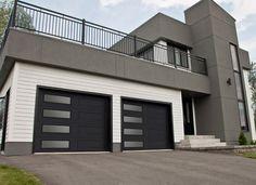 Garaga - Portes de garage Standard+, modèle XL, noir, fenestration harmonie gauche
