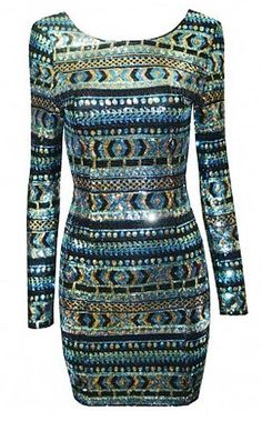 888a56af2b4f Aztec Black and White Longsleeve Tribal Bodycon Mini Dress Large Green  Sequin Dress