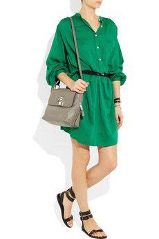 Etoile Isabel Marant Iban belted cotton-blend shirt dress