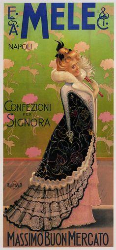 Fashion Lady Fan Dress Mele Napoli Italia Italy Vintage Poster.