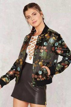 Jaqueta Bomber Feminina Floral Escuro - Compre Online
