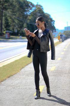 Deanna Luvs You | Wearing moto jacket from Charlotte Russe, Asos mesh bodysuit, TJ Maxx biker/moto jeans, Forever 21 handbag, H&M sunglasses, Burlington Coat Factory shoes in Atlanta, GA