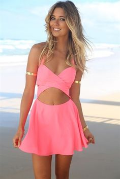 Sexy Halter V Neck Sleeveless Backless Open-work Back Zipper Designed Pink Polyester A Line Mini Dress