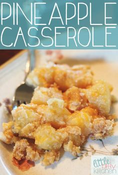 Pineapple Casserole - a sweet and salty side dish with pineapple, cheese and Ritz crackers. via Little Bitty Kitchen Pineapple Casserole - a sweet and salty side dish with pineapple, cheese and Ritz crackers. via Little Bitty Kitchen Side Dish Recipes, New Recipes, Side Dishes, Cooking Recipes, Favorite Recipes, Veggie Dishes, I Love Food, Good Food, Yummy Food