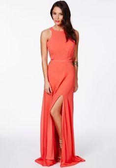 Anthea Cut Out Split Maxi Dress In Coral by Missguided by french_violet