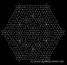 27 - 14 interlaced dots (Idukku Pulli) Kolam.   Start with 27 dots in the center and stop at 14 by putting interlaced dots at both sides as...