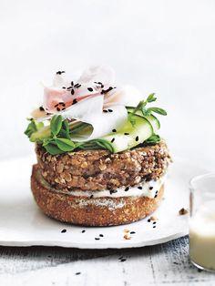 mushroom and quinoa burger from donna hay fresh + light issue #3