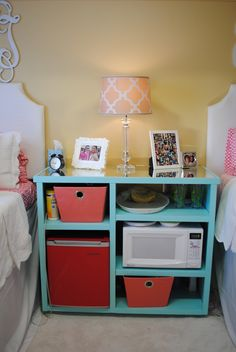 My custom built nightstand/mini-fridge microwave stand Ole Miss Crosby corner dorm room