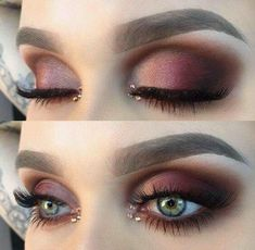 Burgundy eye makeup for blue eyes with beautiful details . - Make up ideen - Eye Makeup Blue Eye Makeup, Love Makeup, Skin Makeup, Makeup Inspo, Makeup Inspiration, Makeup Ideas, Burgundy Makeup Look, Makeup With Blue Eyes, Eyeshadow Makeup