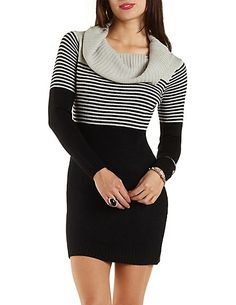 Striped Off-the-Shoulder Sweater Dress