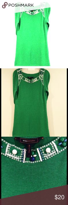 BCBG Beaded-Collar Sweater Dress Beautiful & festive. Shows Minimal signs of wear so priced accordingly (small discoloration spots & hairline snags-see pic 4.) trades BCBGMaxAzria Dresses Midi