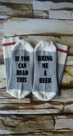 beer socks  bring me beer if you can read by HBRCreativeDesigns