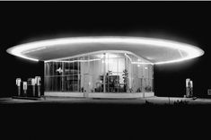"""Gas Station ""Guter Hirte"" in Ludwigshafen am Rhein by Karl Latteyer & Alfred Koch [Architecture-by-Night] © Arthur Pfau Architecture Details, Modern Architecture, Art Deco, Beautiful Roads, Streamline Moderne, Old Gas Stations, Filling Station, The Good Shepherd, Arquitetura"