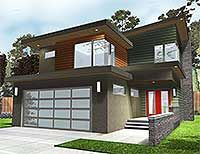 3 Bed Modern Home Plan with Covered Patio